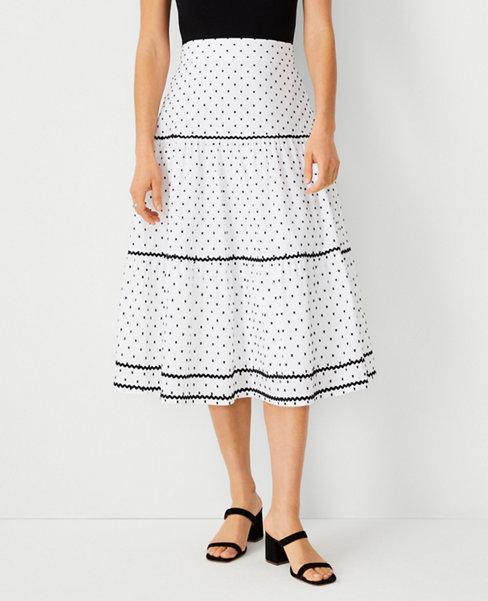 앤테일러 Ann Taylor Clip Dot Trimmed Midi Skirt,White