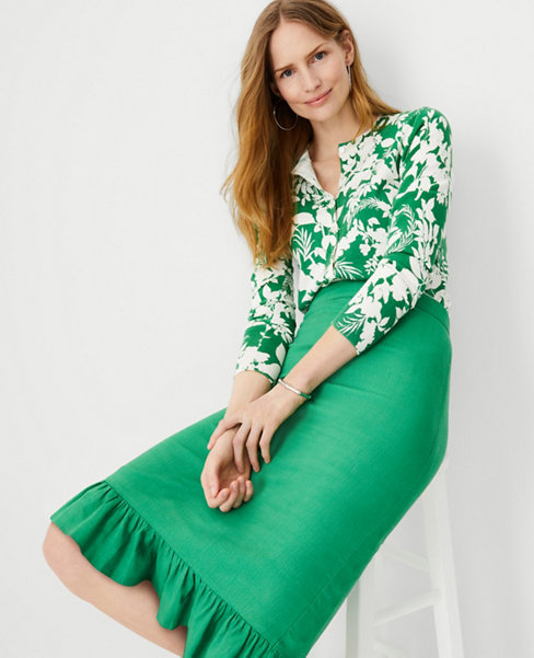 앤테일러 Ann Taylor Ruffle Hem Pencil Skirt,Sunny Green