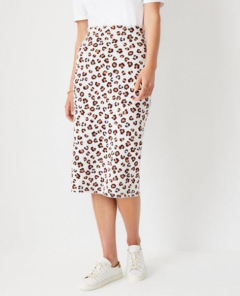 앤테일러 Ann Taylor Leopard Print Sweater Pencil Skirt,Winter White