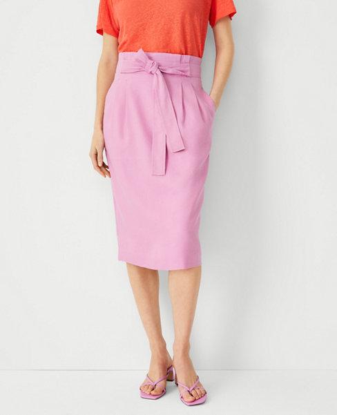 앤테일러 Ann Taylor Linen Blend Tie Waist Paperbag Pencil Skirt,Wild Lotus