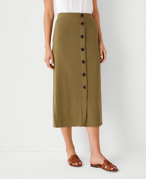 앤테일러 Ann Taylor Button Pencil Skirt,Modern Olive