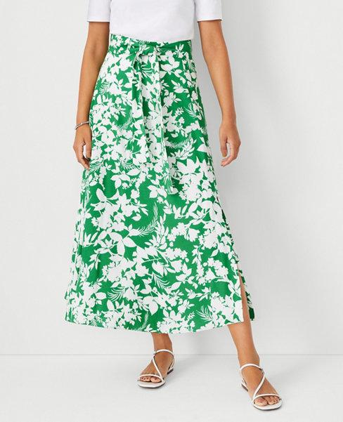 앤테일러 Ann Taylor Floral Tie Waist Maxi Skirt,Natural Green