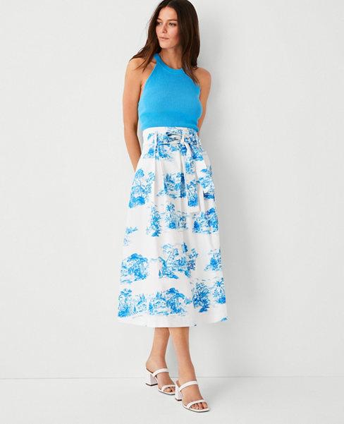 앤테일러 Ann Taylor Floral Toile Pleated Tie Waist Midi Skirt,Vivid Sky