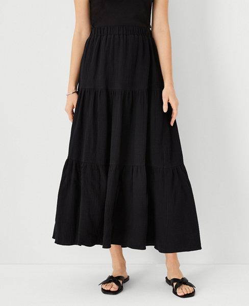 앤테일러 Ann Taylor Gauze Pull On Maxi Skirt,Black