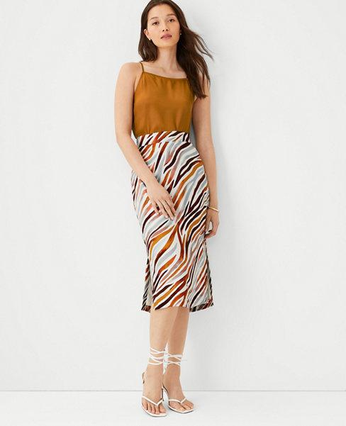 앤테일러 Ann Taylor Zebra Stripe Side Slit Pencil Skirt,Moroccan Spice