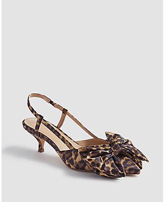 Ann Taylor Claudette Leopard Print Bow Slingback Pumps In Animal Print