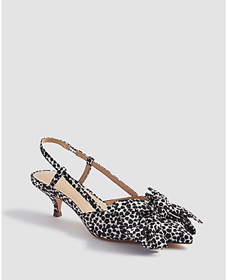Ann Taylor Claudette Spotted Bow Slingback Pumps In Animal Print