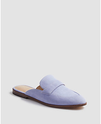 Ann Taylor Caro Suede Loafer Slides In Purple