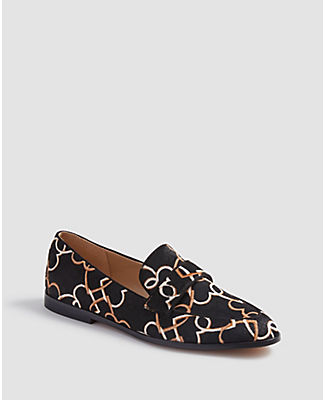 Ann Taylor Luci Heart Chain Haircalf Loafers In Black
