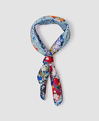 Ann Taylor Floral Silk Little Scarf In Multi