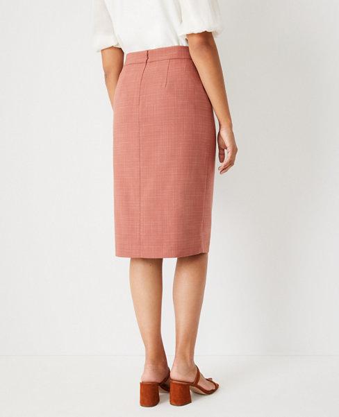 앤테일러 Ann Taylor The Wrap Pencil Skirt in Crosshatch,Romantic Rouge