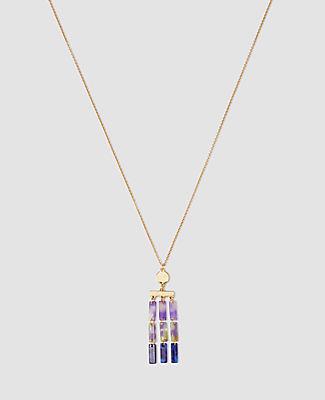 Tortoiseshell Print Bar Pendant Necklace