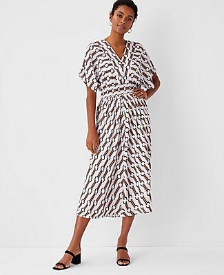 Chain Print Midi Dress