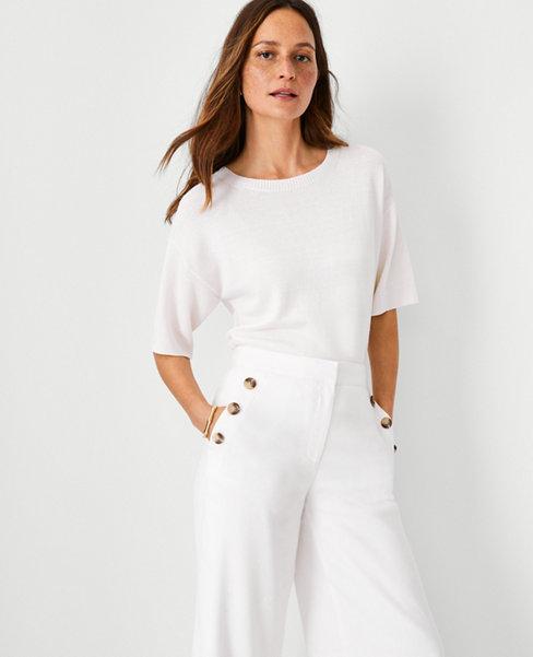 앤테일러 Ann Taylor Linen Blend Short Sleeve Sweater