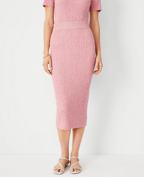 앤테일러 Ann Taylor Marled Ribbed Sweater Pencil Skirt,Chalk Rose