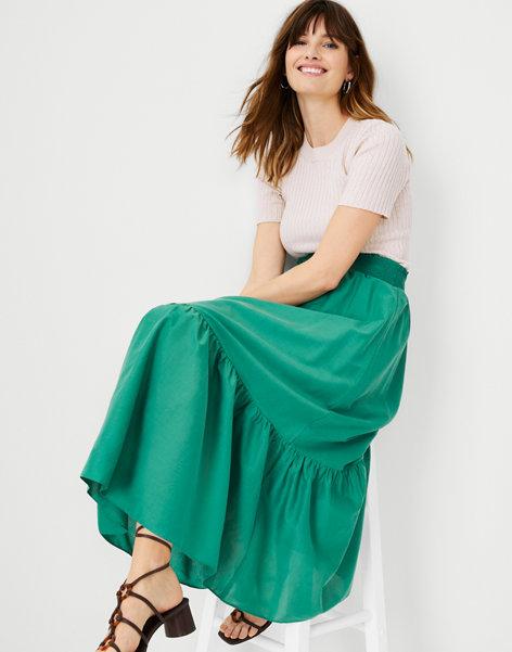 앤테일러 Ann Taylor Flounce Pull On Maxi Skirt,Sea Glass Green