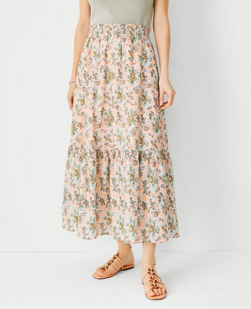 앤테일러 Ann Taylor Floral Flounce Pull On Maxi Skirt,Cantaloupe Fizz