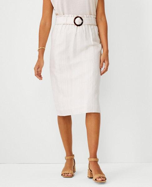 앤테일러 Ann Taylor Linen Cotton Belted Paperbag Pencil Skirt,Neutral Multi