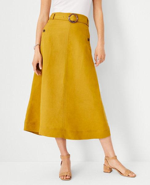 앤테일러 Ann Taylor Linen Blend Belted Midi Skirt,Amber Green