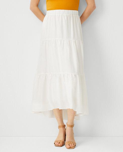 앤테일러 Ann Taylor Tiered Full Skirt,Winter White