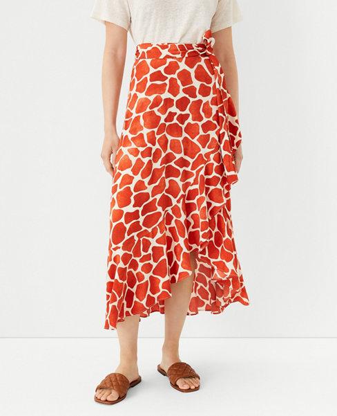 앤테일러 Ann Taylor Giraffe Print Flounce Wrap Maxi Skirt,Moroccan Spice