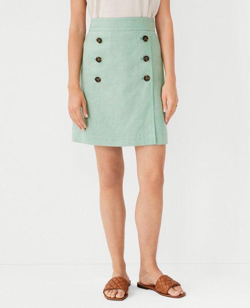 앤테일러 Ann Taylor Linen Blend Wrap Sailor Skirt,Sunny Green
