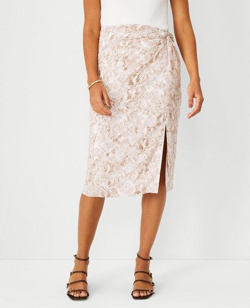 앤테일러 Ann Taylor Snake Print Side Twist Pencil Skirt,파슬 Fossil Brown