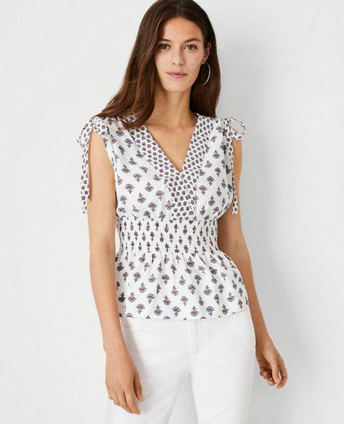 앤테일러 Ann Taylor Floral Shoulder Tie Shell,Winter White