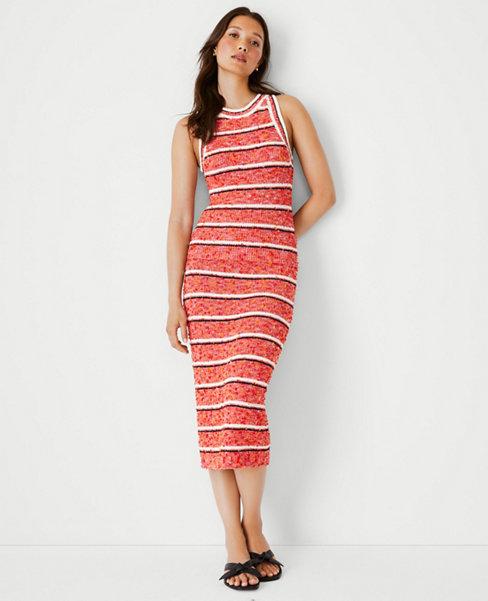 앤테일러 Ann Taylor Tweed Stripe Sweater Pencil Skirt,Bright Red Rose