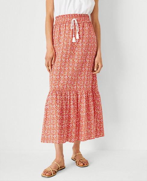 앤테일러 Ann Taylor Floral Flounce Drawstring Maxi Skirt,Pink Punch