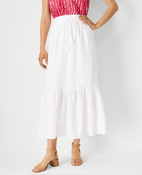 앤테일러 Ann Taylor Flounce Drawstring Maxi Skirt,White