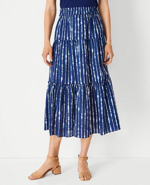 앤테일러 Ann Taylor Tie Dye Gathered Tiered Midi Skirt,Symphony Blue