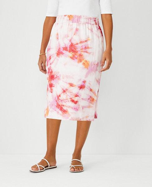 앤테일러 Ann Taylor Tie Dye Pull On Pencil Skirt - Curvy Fit,Juicy Watermelon