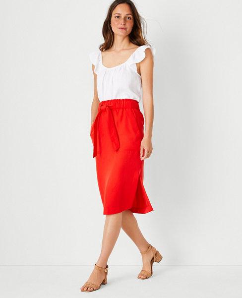 앤테일러 Ann Taylor Tie Waist Patch Pocket Pencil Skirt,Bright Red Rose