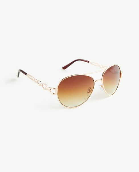 Ann Taylor Chain Link Aviator Sunglasses