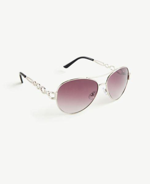 Ann Taylor Chain Link Aviator Sunglasses