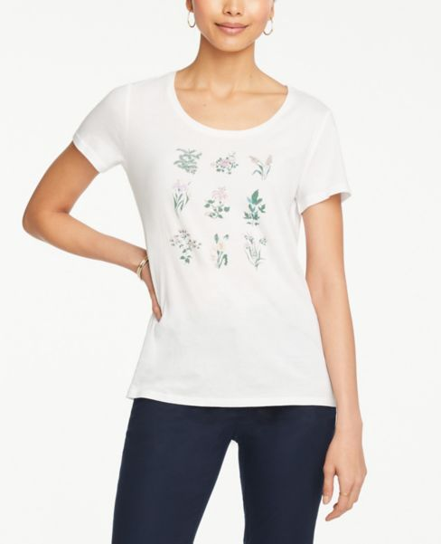 Ann Taylor Botanical Beaded Scoop Neck Tee