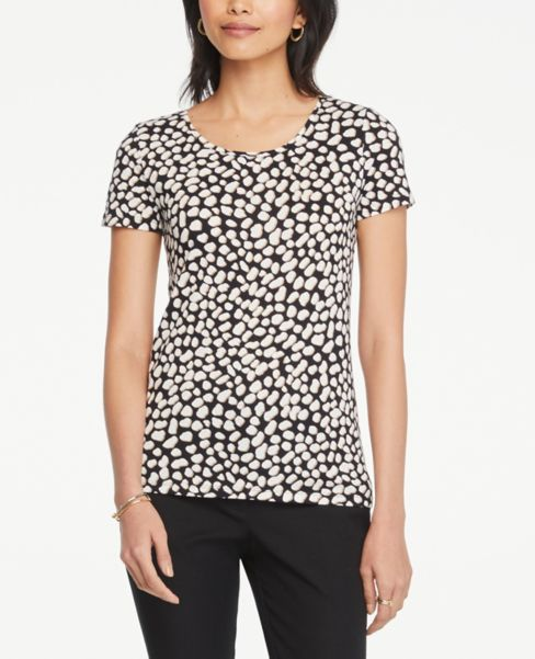 Ann Taylor Cheetah Print Scoop Neck Tee