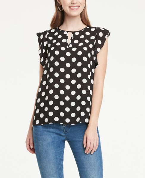 Ann Taylor Dotted Flutter Sleeve Keyhole Top