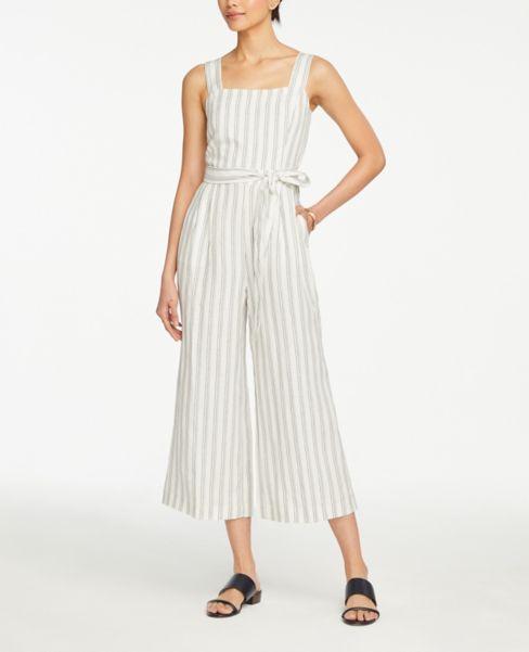 Ann Taylor Striped Strappy Tie Waist Jumpsuit