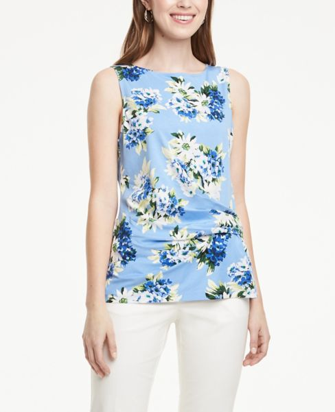 Ann Taylor Floral Draped Wrap Shell