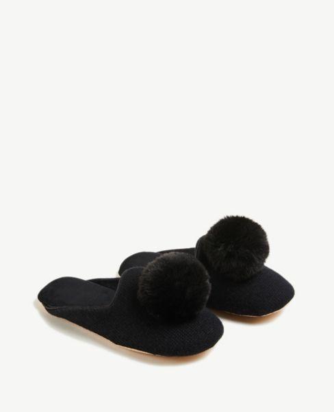 Ann Taylor Pom Pom Slippers