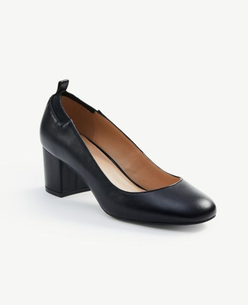 Ann Taylor Elastic Back Block Heel Pumps
