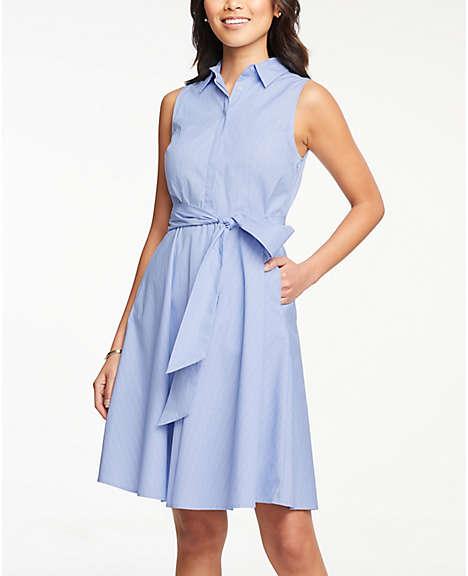 f77477a18fd Striped Tie Waist Sleeveless Shirtdress