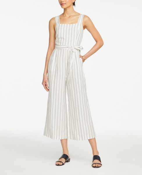 Ann Taylor Petite Striped Strappy Tie Waist Jumpsuit