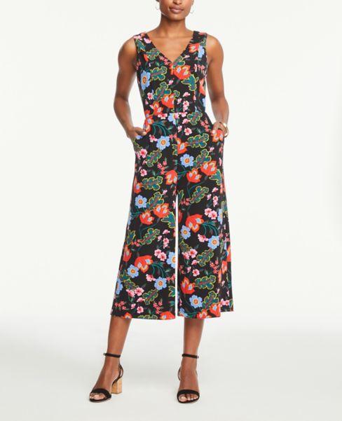 Ann Taylor Petite V-Neck Wide Leg Jumpsuit