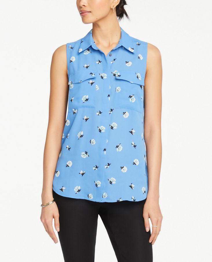 43768816e8b1e2 Floral Sleeveless Camp Shirt 0