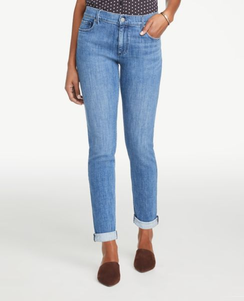 Ann Taylor Modern Girlfriend Jeans in Mid Indigo Wash