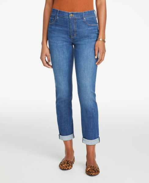 Ann Taylor Modern Girlfriend Jeans in Dark Indigo Wash