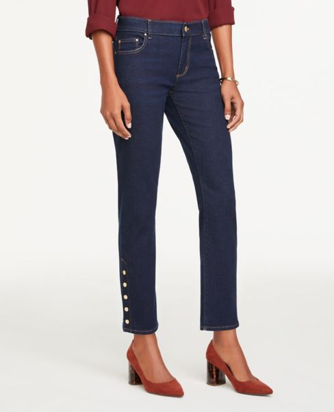 Ann Taylor Snap Hem Straight Leg Jeans in Classic Dark Indigo Wash